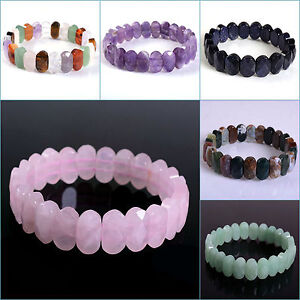 "14mm Faceted oval gemstone beads stretchable bracelet 7""-7.5"""