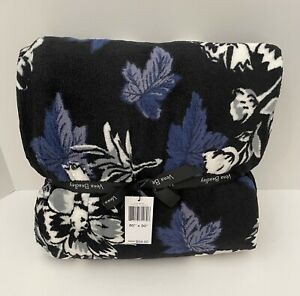 """Vera Bradley Plush Throw Blanket in FROSTED FLORAL Oversized 80"""" x 50"""" NWT"""