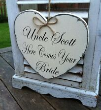 Handmade heart 'Here Comes Your Bride' personalised wedding sign