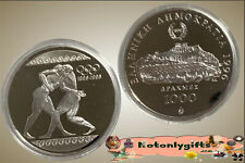 """Greece -1000 Drachmai 1996 Silver Proof """"Ancient Wrestlers Olympic"""" Capsule only"""