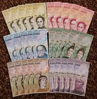VENEZUELA BOLIVARES NEW UNC 5 X 100k / 20k / 10k / 5k / 2k / 1k LOT 30 PCS Total