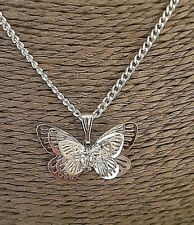 "Pretty Silver Butterfly Pendant on 20"" Chain - By CassysJules"