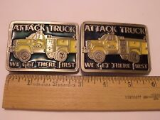 2 LOT ATTACK TRUCK BELT BUCKLES WE GET THERE FIRST
