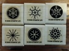 Stampin' Up SNOW FLURRIES Set 6 Christmas Rubber Stamps Lot Snowflake Winter