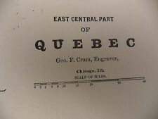 1891 Color Tinted Geo Cram Map East Central Part of PQ Quebec Be Great Framed
