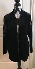 Bob Mackie Black Velour Embroidered Jacket SZ S