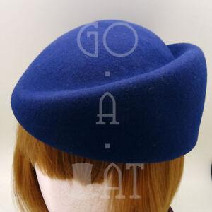 CLASSIC Wool Felt Women Pillbox Hat Beret Groove Party Cloche NEW | 57cm | Navy