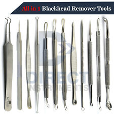 All in 1 Blackhead Remover Tweezers Whitehead Acne Pimple Comedone Extractor Kit