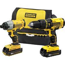 Stanley Fatmax 18v Cordless Li-ion Hammer Drill & Impact Driver Set inc Kit Bag