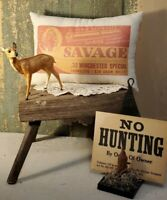 VINTAGE OLD STYLE CABIN SAVAGE WINCHESTER HUNTING BULLET GUN ADVERTISING PILLOW