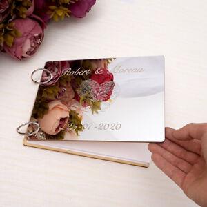 A4 Custom Wedding Mirror Signature Guest Book Personalized Finger Wooden Album