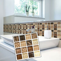 18x Adhesive Mosaic Tile Wall Decal Sticker for Kitchen Home Decor 10x10cm