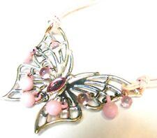 Rosa De Cristal De Grano De Metal De Plata Mariposa Colgante Cable Collar Free UK POST! PB1
