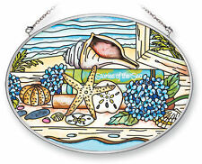 "Beach Sand Sun Catcher AMIA Sea Shells Sand Dollars Hand Painted Glass 7""x5"" New"