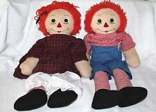 "Large 24"" Vintage Raggedy Ann & Andy Stuffed Plush Dolls for DIY Crafts Projects"
