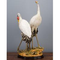 """PORCELAIN AND BRONZE ORMOLU TALL DOUBLE CRANE BIRD FIGURINE CENTERPIECE 25"""""""