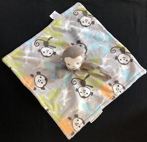 Blankets & Beyond Monkey Tan Blue Orange Green Lovey Security Pacifier Holder