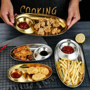 Stainless Steel Compartment Snack Plate Oval Sushi Sauce Dish Barbecue DishTray