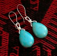 Sundance Cowgirl turquoise teardrop wire wrapped silver dangle earrings