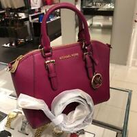 Michael Kors Small Medium Leather Messenger Satchel Crossbody Bag Purse Magenta