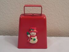 "Old Heavy Large Red Metal Christmas Cow Bell With Snowman ~ 4"" Tall ~ Wt 5.7 oz"