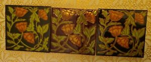 Set of 3 Floral Design Art Tiles Elaine Cain vintage Deco 6X6""