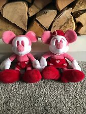 "RARE COLLECTORS PINK Minnie & Mickey Mouse Disney Soft Toys Disney Store 8.5""❤️"