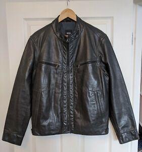 Men's HUGO BOSS Buffalo Leather Jacket 40 IT50 Pristine Cafe Racer Motorcycle