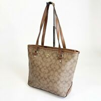 Coach Beige Brown Signature C Zip Top Leather Gallery Shoulder Tote Bag F68294