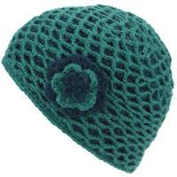 Wool Knitted Crochet Lattice Beanie Hat With Flower Womens Ladies Winter Warm