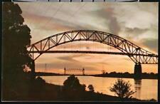CAPE COD MA Canal Sunset Sagamore Bridge Vtg Postcard
