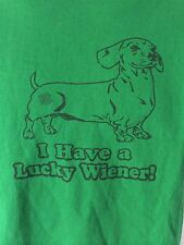 Men's I Have A Lucky Wiener Dog Funny St. Patty's Patricks Day T-Shirt Size M