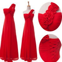 STOCK Long Chiffon Evening Formal Party Ball Gown Prom Bridesmaid Dress UK 6 8++