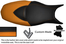 ORANGE & BLACK CUSTOM FITS BMW F 800 R F 800 S F 800 ST DUAL LEATHER SEAT COVER