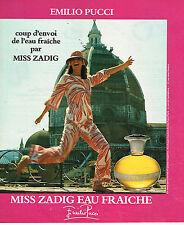 PUBLICITE ADVERTISING 034   1977   EMILIO PUCCI   eau fraiche MISS ZADIG pafum