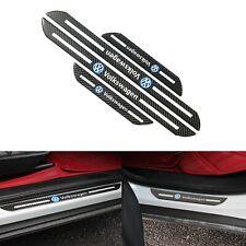 4Pcs Volkswagen Black Carbon Fiber Car Door Welcome Plate Sill Scuff Cover