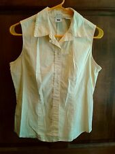 Gap Stretch Smooth Cotton Spandex Sleeveless Button Up Yellow Blouse Shirt Sz M