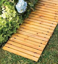 Wooden Garden Walkway Cedar Straight Pathway Lawn Roll Up Portable Grass Decor