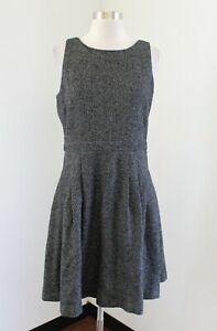 NWT Banana Republic Gray Wool Herringbone Pleated Fit and Flare Dress Size 6