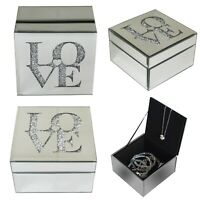 "New ""LOVE"" Silver Glass Make Up Case Organiser Jewellery Earring Trinket Box"