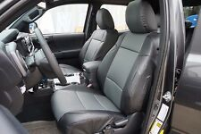 TOYOTA TACOMA 2016- BLACK/CHARCOAL LEATHER-LIKE CUSTOM MADE FIT FRONT SEAT COVER