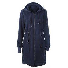 Womens Hooded Coats Long Jackets Winter Warm Ladies Hoodie Zip Overcoat Outwear