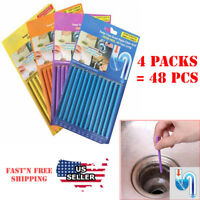 4 Packs 48 pcs Drain Cleaner Sticks Keeps Drains Pipes Clear Odor As Seen On TV
