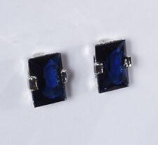 Paar Ohrclips Ohrschmuck silber blaue XXL Glas Strass Steine elegant Fashion Neu