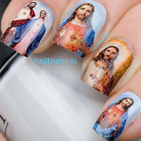 Jesus Nail Art Nails Water Transfers Decals Wraps Mary Religious Y18
