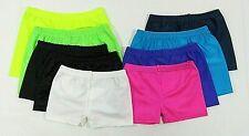Girls Ladies Womens Shorts Hotpants Cycle Dance PE Gymnastics Lycra Shiny Velvet