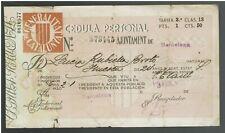 Spain Espana doc. with Revenue Stamp Fiscal Fiscaux Cheque Cedula Personal 1936