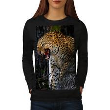 Wellcoda Leopard Photo Wild Animal Womens Long Sleeve T-shirt, Mad Casual Design