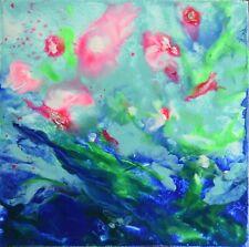 """TABLEAU ABSTRAIT ORIGINAL peinture à la cire signée HZEN, paysage """"ABONDANCE"""""""