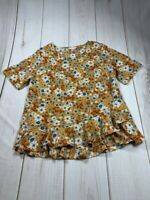 Time And Tru Womens Blouse Multicolor Floral Short Sleeve Scoop Neck Ruffles L